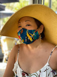 woman wearing tropical fish handmade face mask