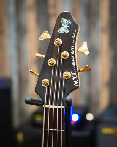 Fodera NYC Empire 5 Deluxe Spalted Maple Headstock