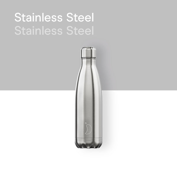 Chilly's plain bottle 500ml - Stainless Steel
