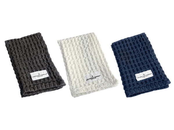 The Organic Co - Waffle Kitchen & Wash Cloth - Dark Blue