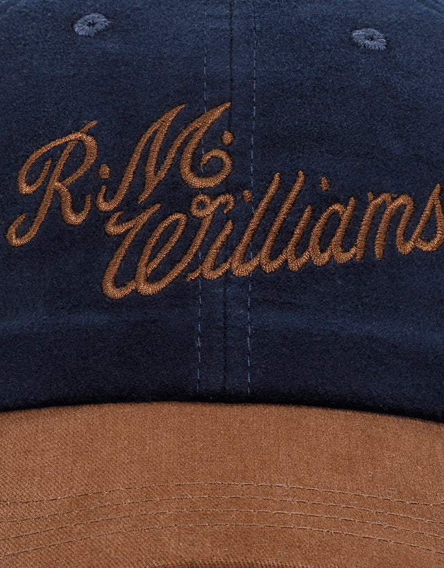 R.M. Williams Moleskin Script Navy and Brown Cap