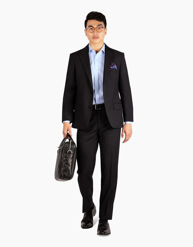 Lotus Black Herringbone Suit Trouser