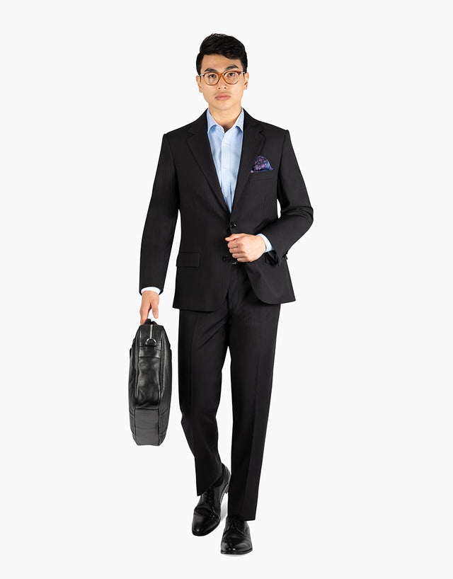 Lennon Black Herringbone Suit