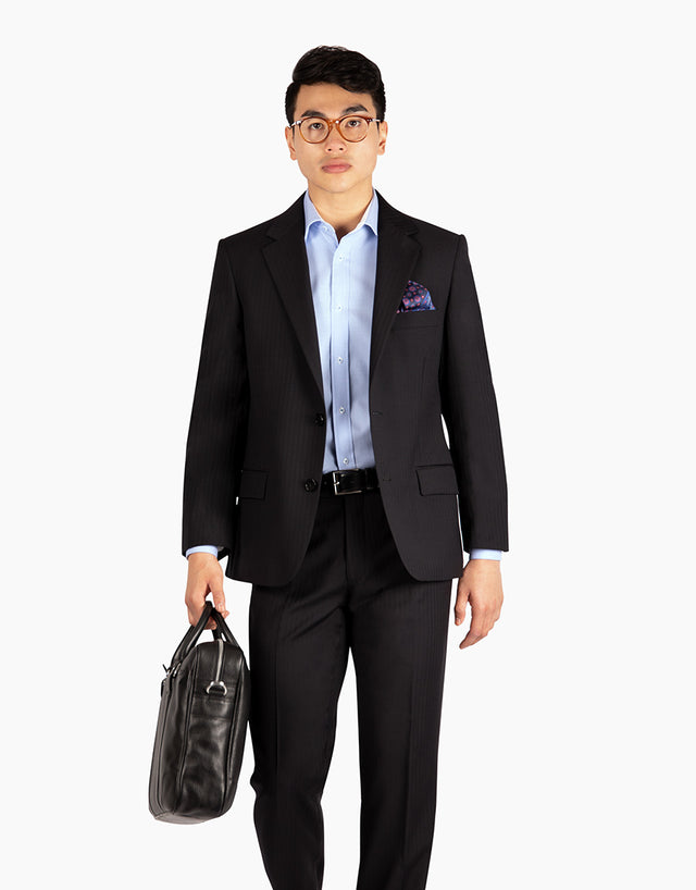 Lennon Black Herringbone Suit Jacket
