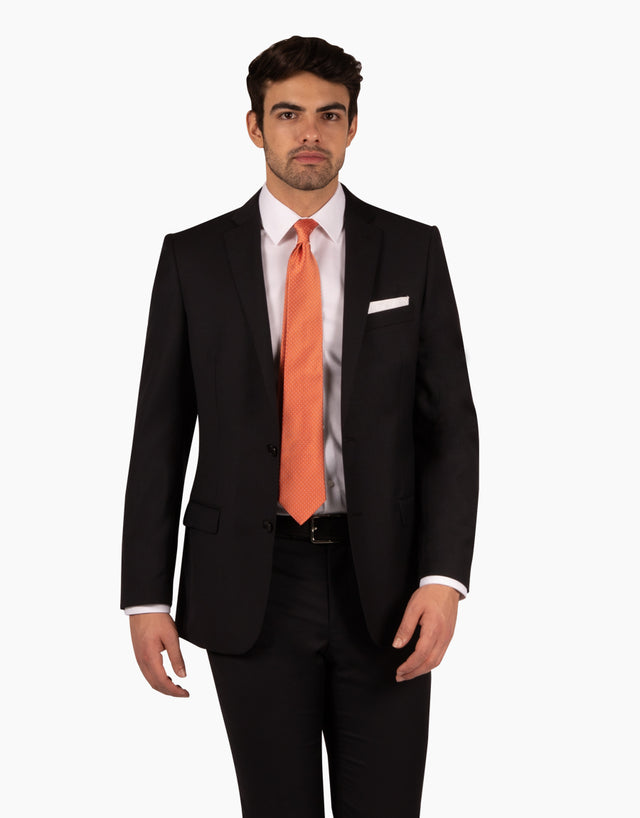 Proto Black Twill Two Piece Suit