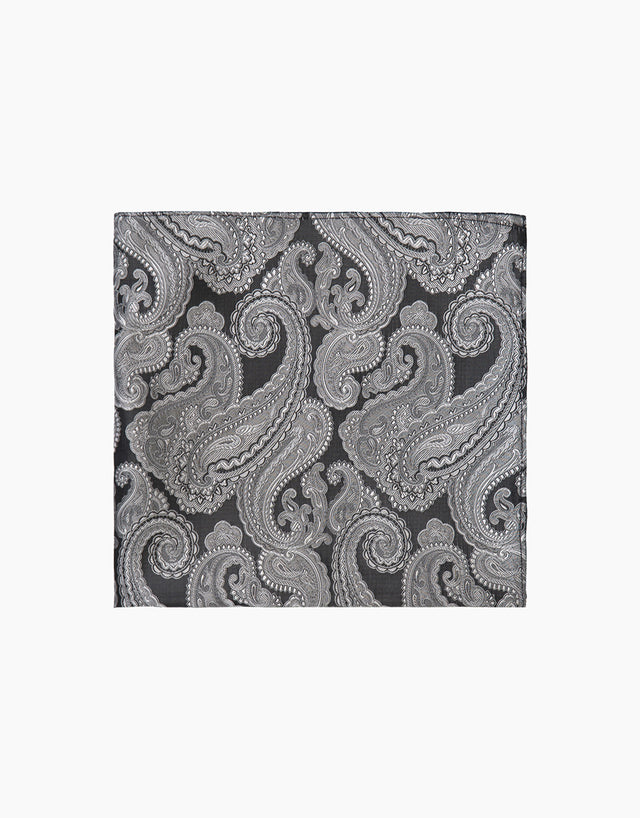 Black & White Paisley Pocket Square