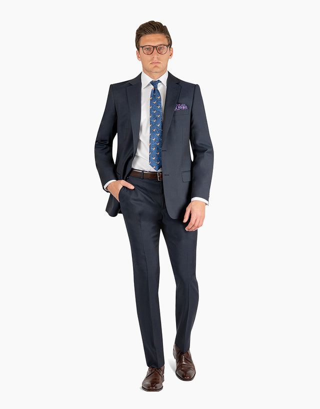 Lewis Navy Contrast Twill Suit