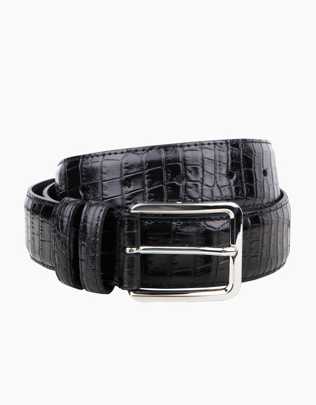 Italian Mock-Croc Black Belt