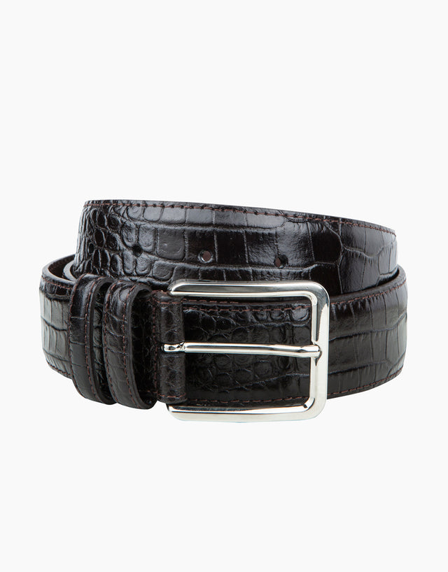 Italian Mock-Croc Chocolate Belt
