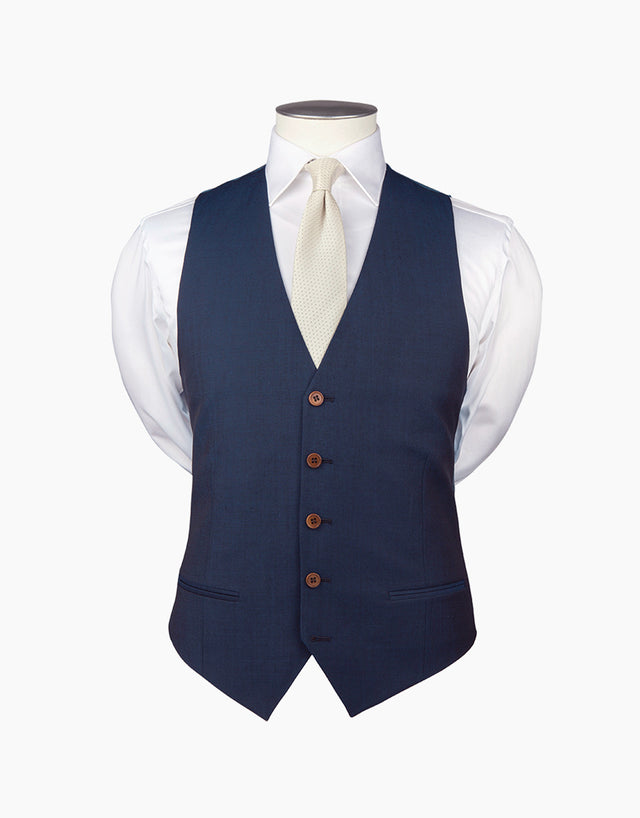 Curtis Blue Contrast Twill Waistcoat