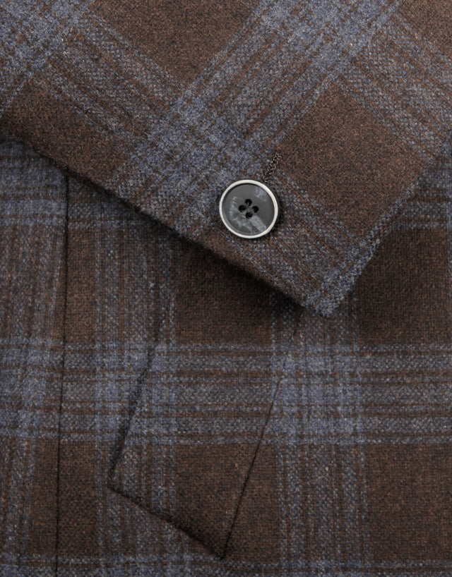 Winton Brown & Blue Check Carcoat