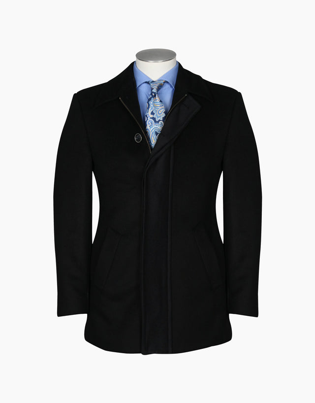Winton Black Melton Carcoat