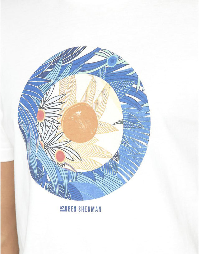 Ben Sherman White Tropical Target T-Shirt