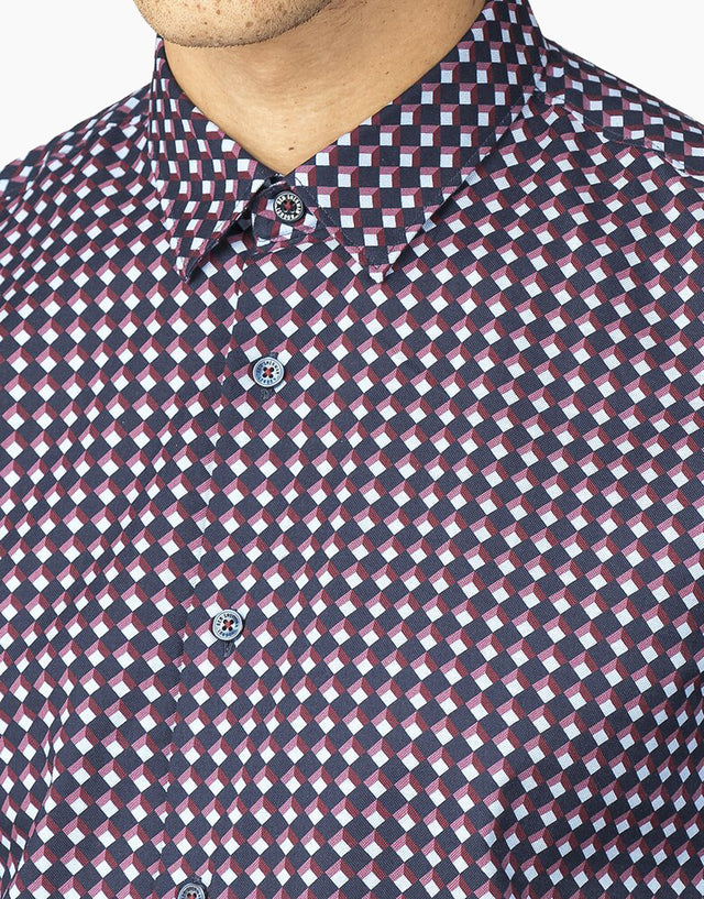 Ben Sherman  Dark Navy Oxford Geo Shirt