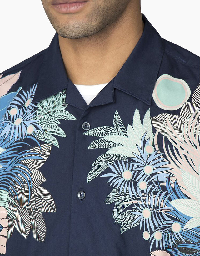 Ben Sherman Dark Blue Foliage Print Shirt