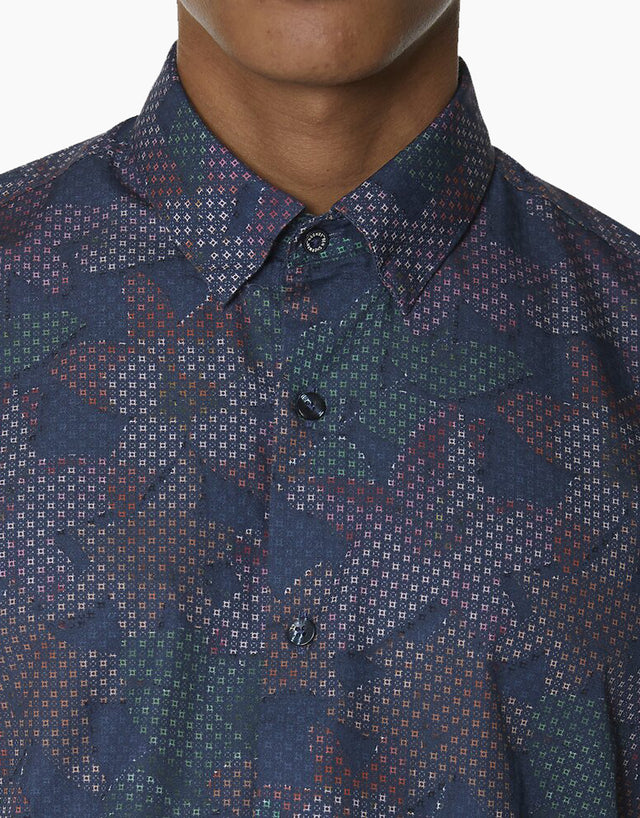 Ben Sherman Dark Blue Tropical Geo Print Shirt