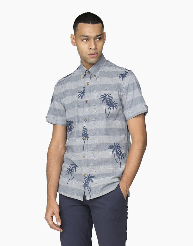 Ben Sherman Dark Blue Striped Palm Print Shirt