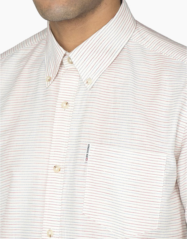 Ben Sherman White Horizontal Stripe Shirt