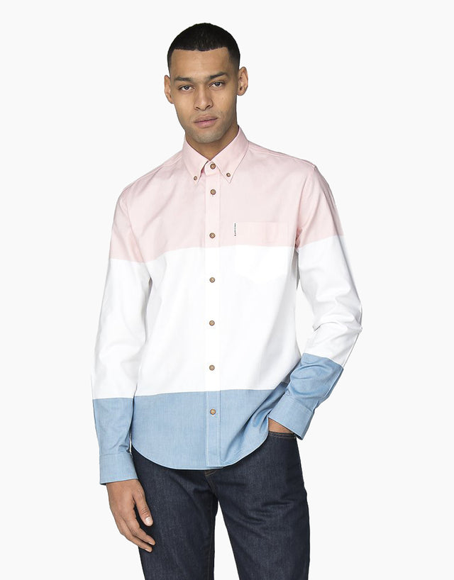 Ben Sherman Pink, White & Blue Striped Shirt