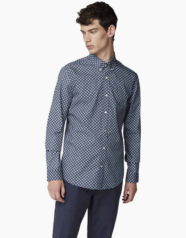 ben sherman blue geometric shirt