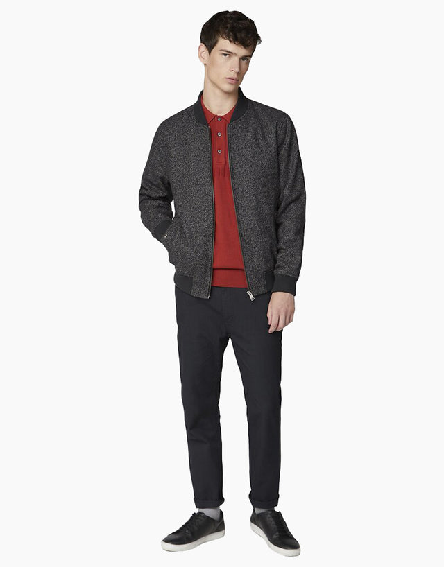 Ben Sherman Coffee Herringbone Bomber Jacket