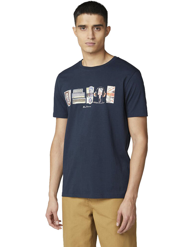 Ben Sherman Navy 3x1 on Brand Fills T-Shirt