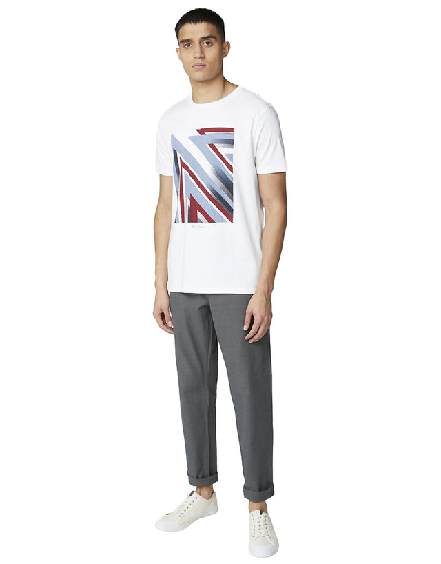 Ben Sherman White Union Jack Stipple Flag T-Shirt