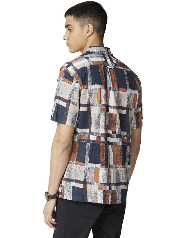 Ben Sherman Peach Printed Linen Short Sleeve Shirt