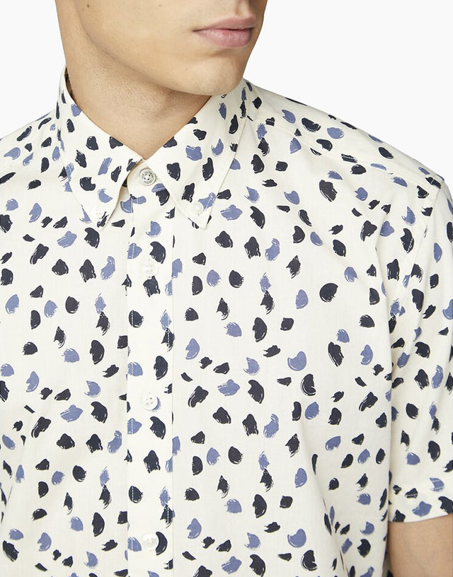 Ben Sherman Ecru Handpainted Print Short Sleeve Shirt