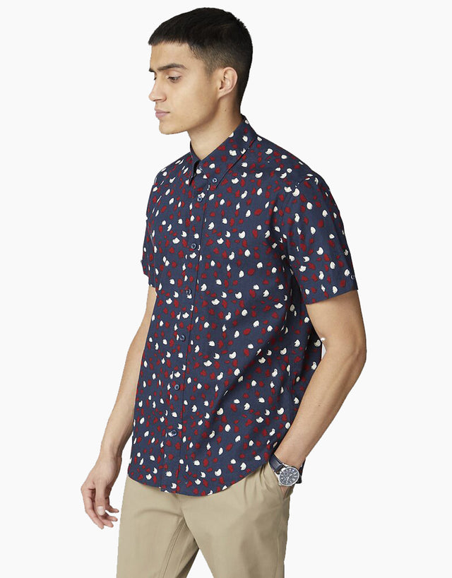 Ben Sherman Navy Handpainted Print Short Sleeve Shirt