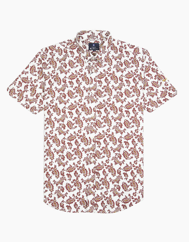 Ben Sherman Ecru Paisley Short Sleeve Shirt
