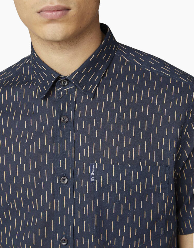 Ben Sherman Navy Linen Striped Short Sleeve Shirt