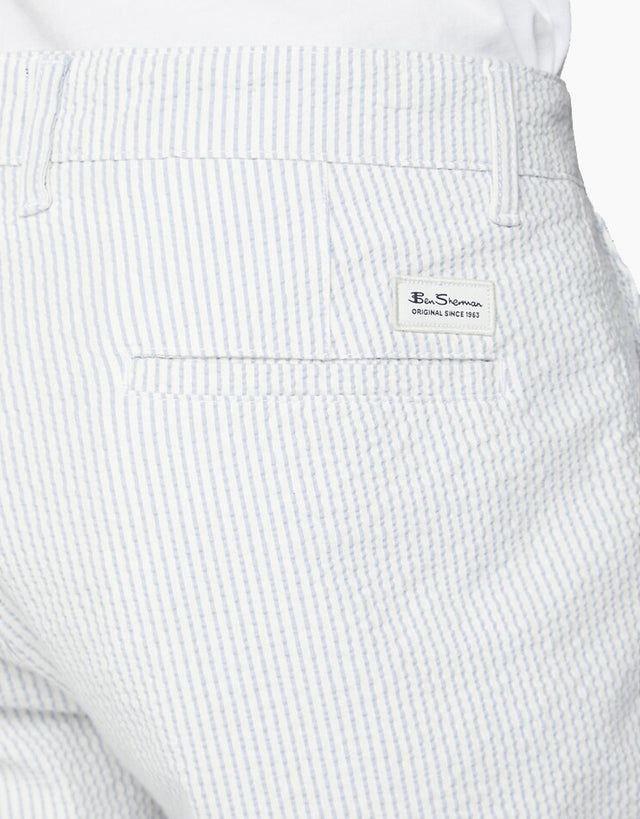 Ben Sherman Dusky Blue Seersucker Stripe Shorts