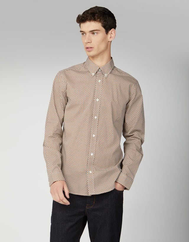 Ben Sherman Gold Retro Spot Print Shirt