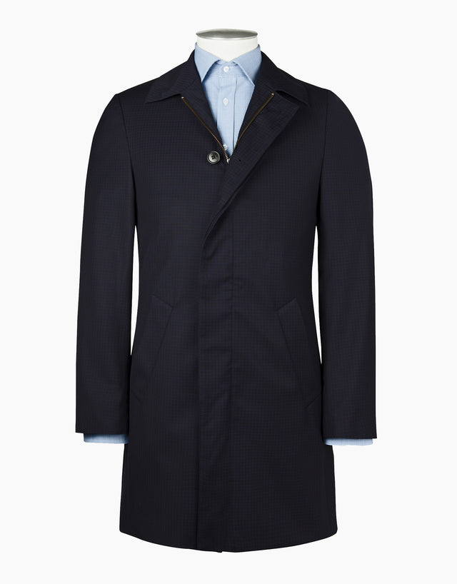 Hillary Navy Ripstop Check Raincoat