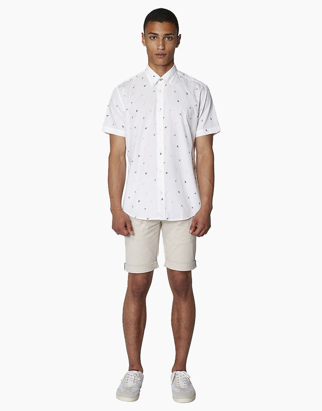 Ben Sherman White Nautical Print Short Sleeve Shirt