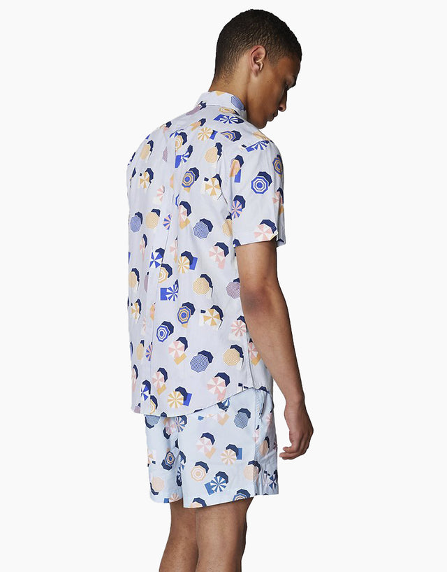 Ben Sherman Blue Umbrella Print Short Sleeve Shirt