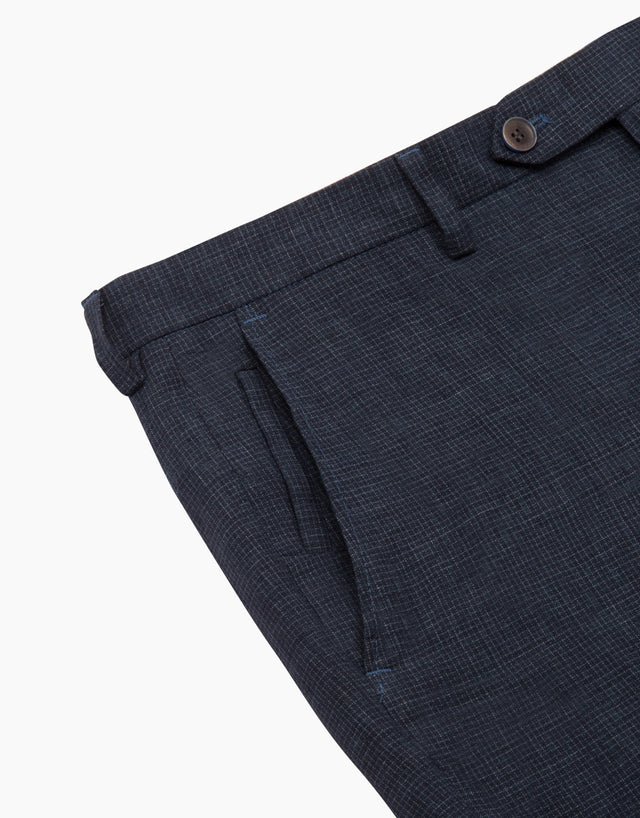 Aero Navy Micro-check Trouser