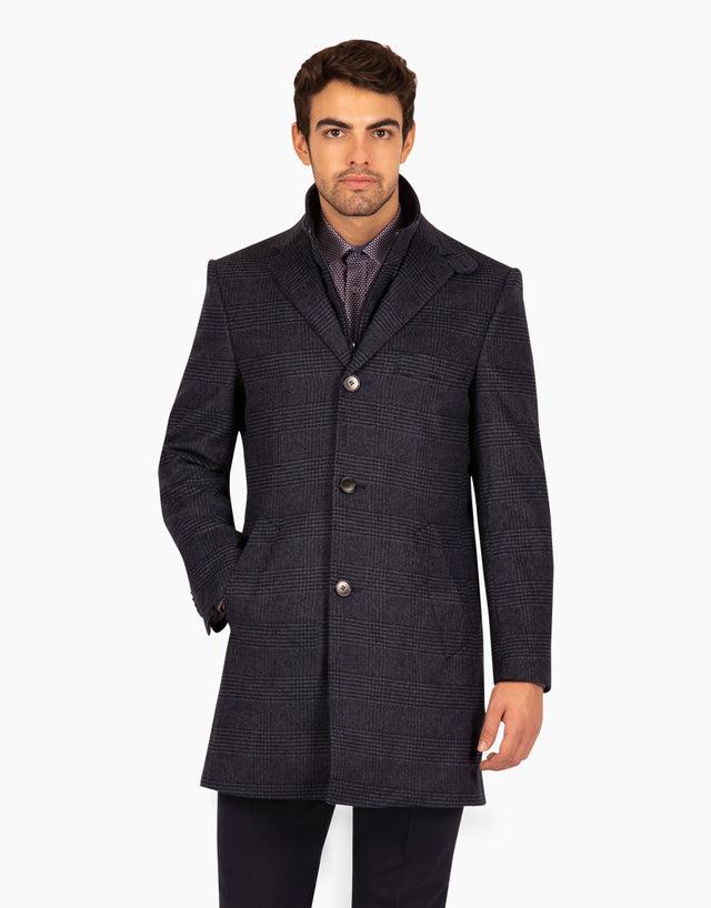 Compton blue check overcoat