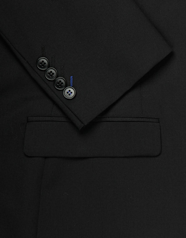 Fresh black twill two piece suit