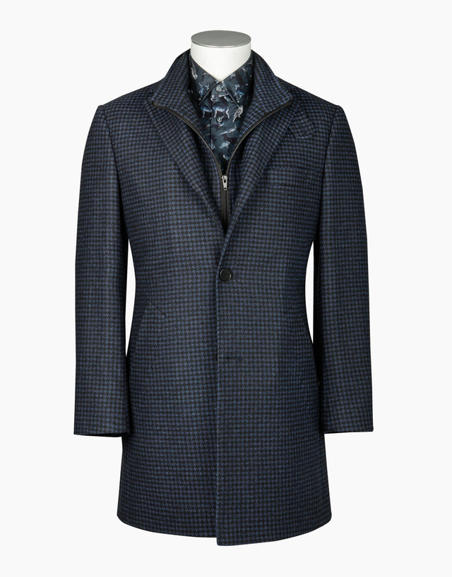 Compton blue houndstooth overcoat