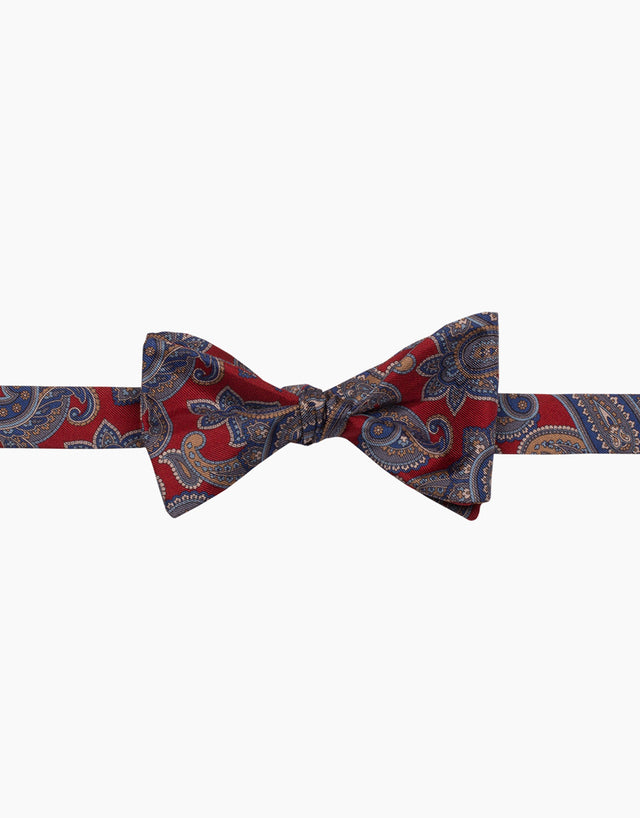 Red Paisley Silk Self Tie Bow Tie