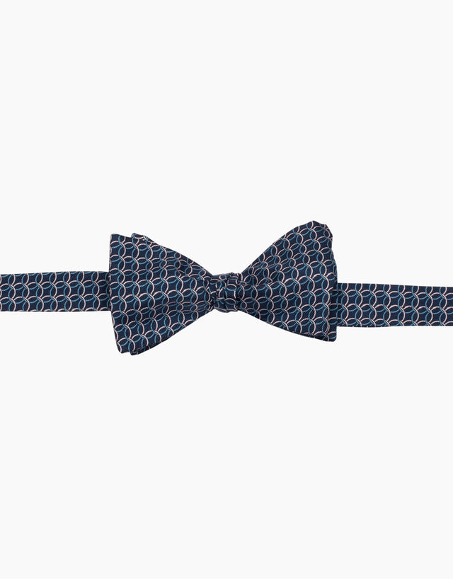 Blue Geometric Silk Self Tie Bow Tie