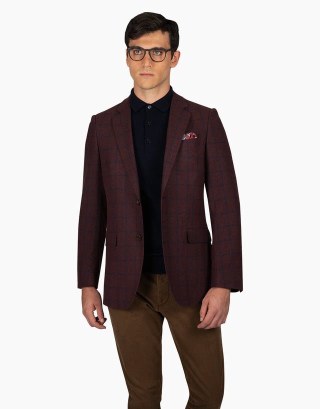 Hawker Burgundy Check Blazer
