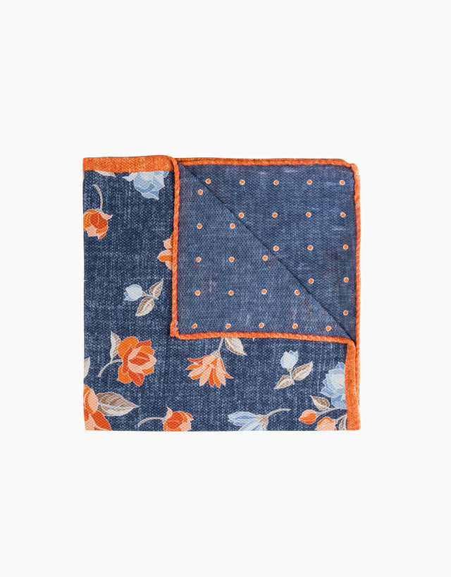 Blue Floral & Polka Dot Reversible Pocket Square