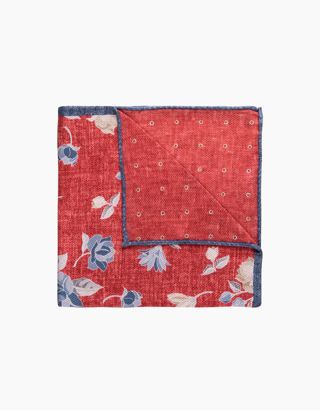 Red Floral & Polka Dot Reversible Pocket Square