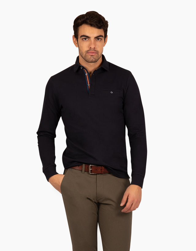 Capri Charcoal Long Sleeve Polo Shirt