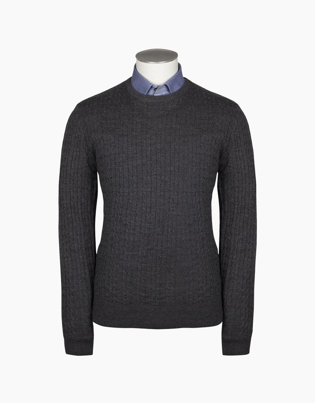 Cromwell Cable Crew Grey Jersey
