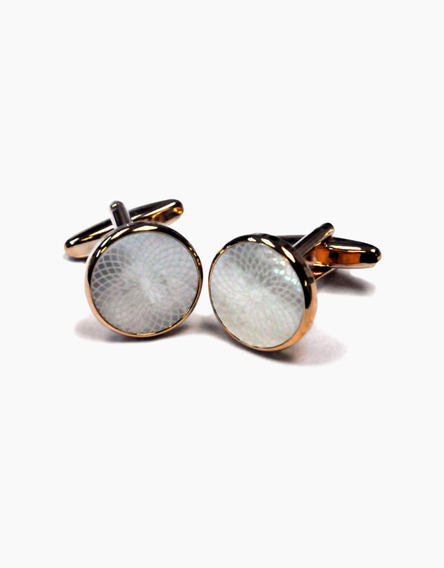 Round mother of pearl rose gold cufflinks
