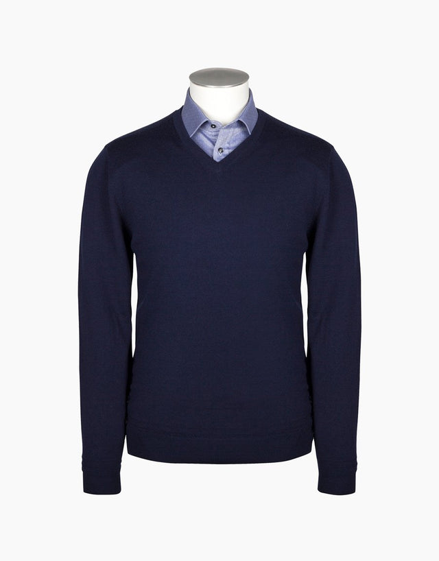 Fairlie Navy V-Neck Jersey